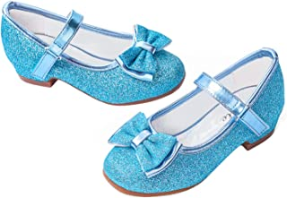 Best Girls Mary Jane Glitter Shoes Low Heel Princess Flower Wedding Party Dress Pump Shoes for Kids Toddler Review