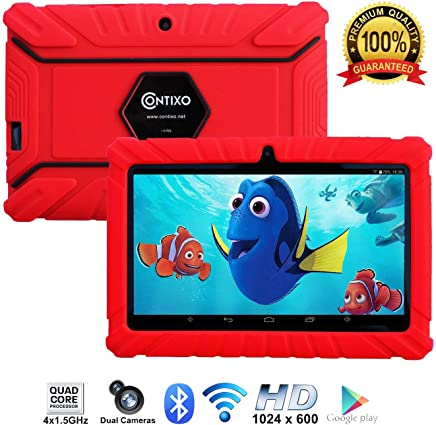 "Contixo Kids Tablet K2 | 7"" Display Android 6.0 Bluetooth WiFi Camera Parental Control Children Infant Toddlers Includes Tablet Case (Red)"