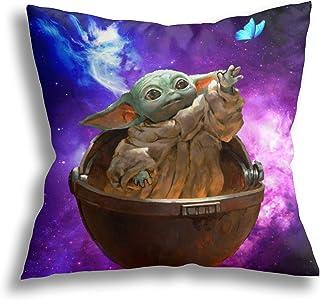 Baby Yoda Funda De Almohada Personalizada Funda De Cojín con Cremallera Cuadrada Suave Decoración Funda De Almohada De Ocio 45x45cm
