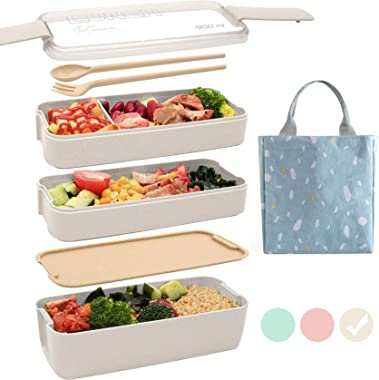 TAOCCI Bento Box Japanese Lunch Box,3-in-1 Compartment - Wheat Straw, Leakproof Eco-Friendly Bento Lunch Box Meal Prep Contai
