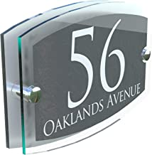 MODERN HOUSE SIGN PLAQUE DOOR NUMBER STREET GLASS EFFECT ACRYLIC ALUMINIUM NAME ESTA5-28WA-S-C
