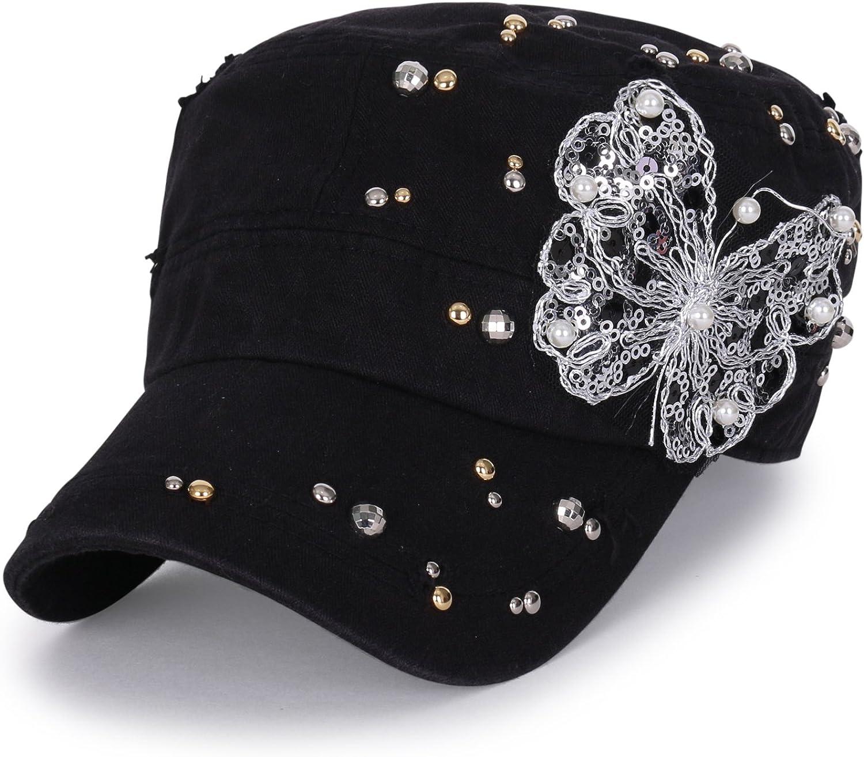 ililily Vintage Distressed Cotton Embellished Over item Excellence handling ☆ Mil Hat Rhinestone
