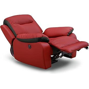 【メーカー保証付】電動リクライニングソファー リクライニングチェアー 電動ソファー 1人掛けソファー 1人用ソファー 一人掛けソファー 一人用ソファー オットマン一体型 合皮 レザー/ms-pie-2 レッド/ブラック