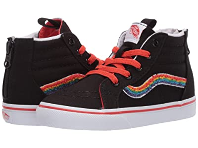 Vans Kids Sk8-Hi Zip (Infant/Toddler) ((Chenille) Rainbow/True White) Girls Shoes