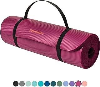 Retrospec Solana Yoga Mat 1/2 Thick w/ Nylon Strap for Men & Women - Non Slip Exercise Mat for Yoga,  Pilates,  Stretching,  Floor & Fitness Workouts