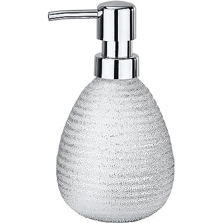 WENKO Distributeur de savon Polaris Juwel argent - Distributeur de savon liquide Capacité: 0.39 l, Céramique, 9.5 x 16.2 x 9 cm, Argent