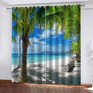 shzyy Cortinas de impresión de sombrilla, Cortinas de Fibra de poliéster 3D de árbol de Coco, decoración Interior Fresca, Cortinas Opacas Altas (59