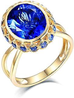Daesar Anello in Oro Giallo 18 K, Anelli Donna Fidanzamento Anello con Tanzanite 4.9ct di Lusso A Forma Rotonda Anello di ...