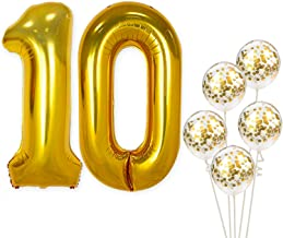 Number 10 and Gold Confetti Balloons - Large, 40 Inch Foiil Gold Balloons | 5 Gold Confetti Balloons, 12 Inch | 10th Birthday Party Decorations | Party Supplies for Anniversary Décor