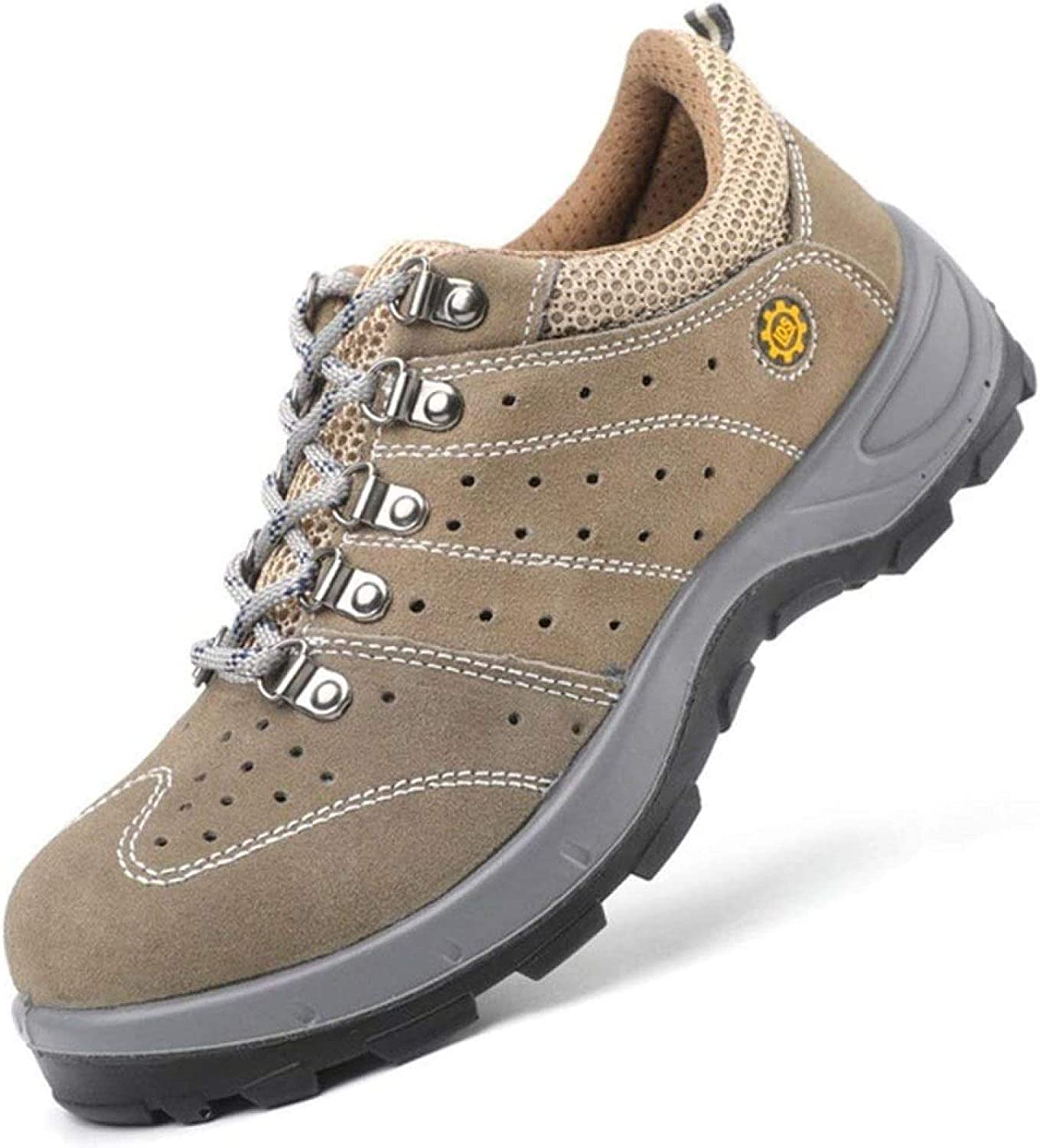 AGYE Safety Shoes Men Women,Steel Toe Shoes Work Shoes Lightweight Breathable Non Slip Puncture Proof Composite Toe Shoes,Brown-43