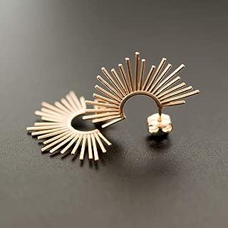 Rose gold stud earrings gift, spike earrings, unusual earrings, minimalistic earring studs, statement earrings, hypoallergenic rose gold earrings by Emmanuela
