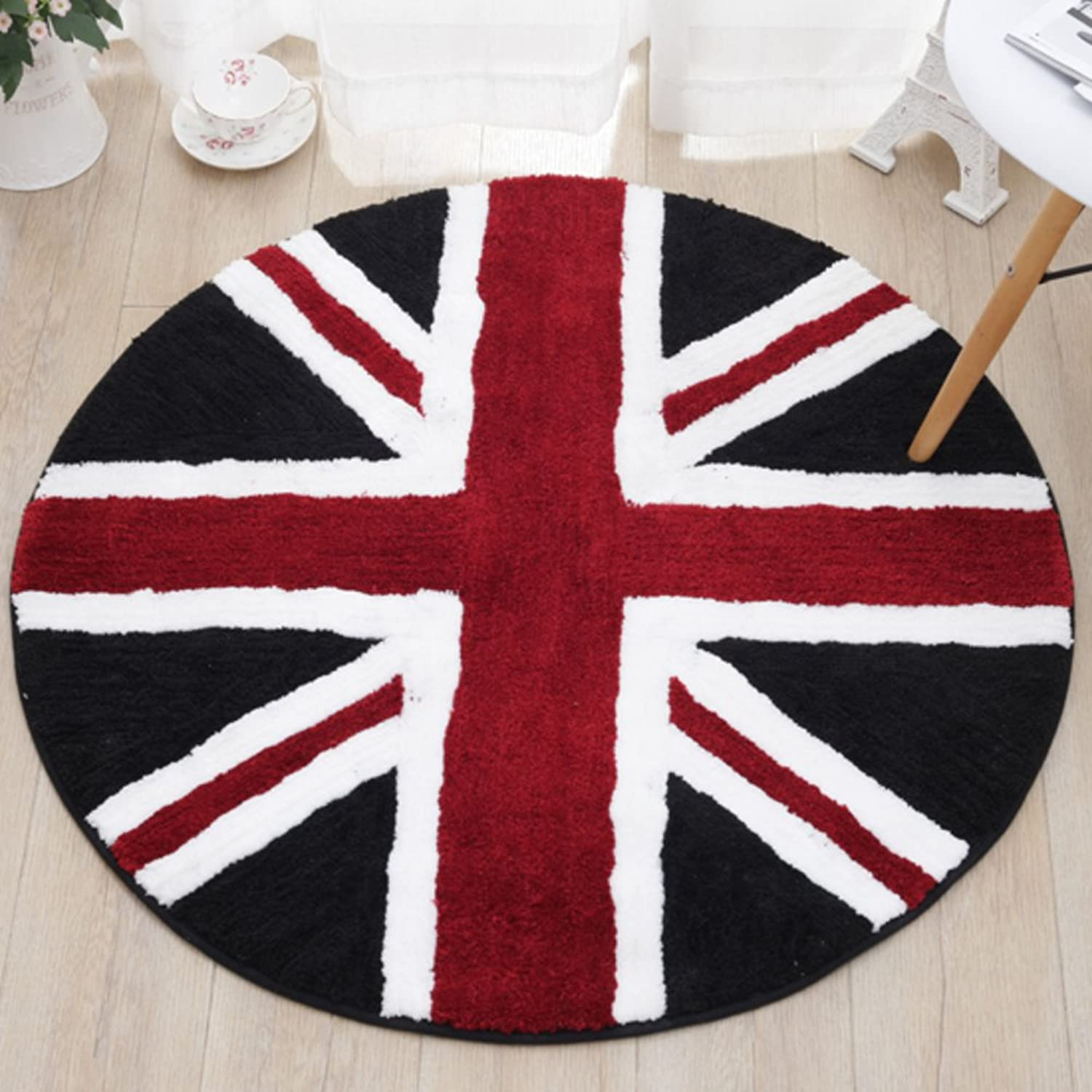 European round floor mat Circle computer turn cushions  bedroom hanging basket cushion Non-slip water-absorption door mat-A 110x110cm(43x43inch)