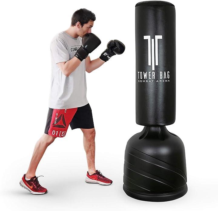 Sacco da boxe da terra con base professionale. pedana regolabile in 4 altezze combat arena B08KW89HQ8