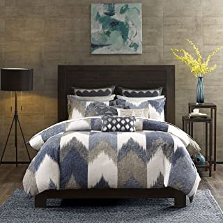 Ink+Ivy Alpine Duvet Cover King/Cal King Size - Navy, Taupe, Ivory , Pieced Chevron Duvet Cover Set – 3 Piece – 100% Cotton Light Weight Bed Comforter Covers