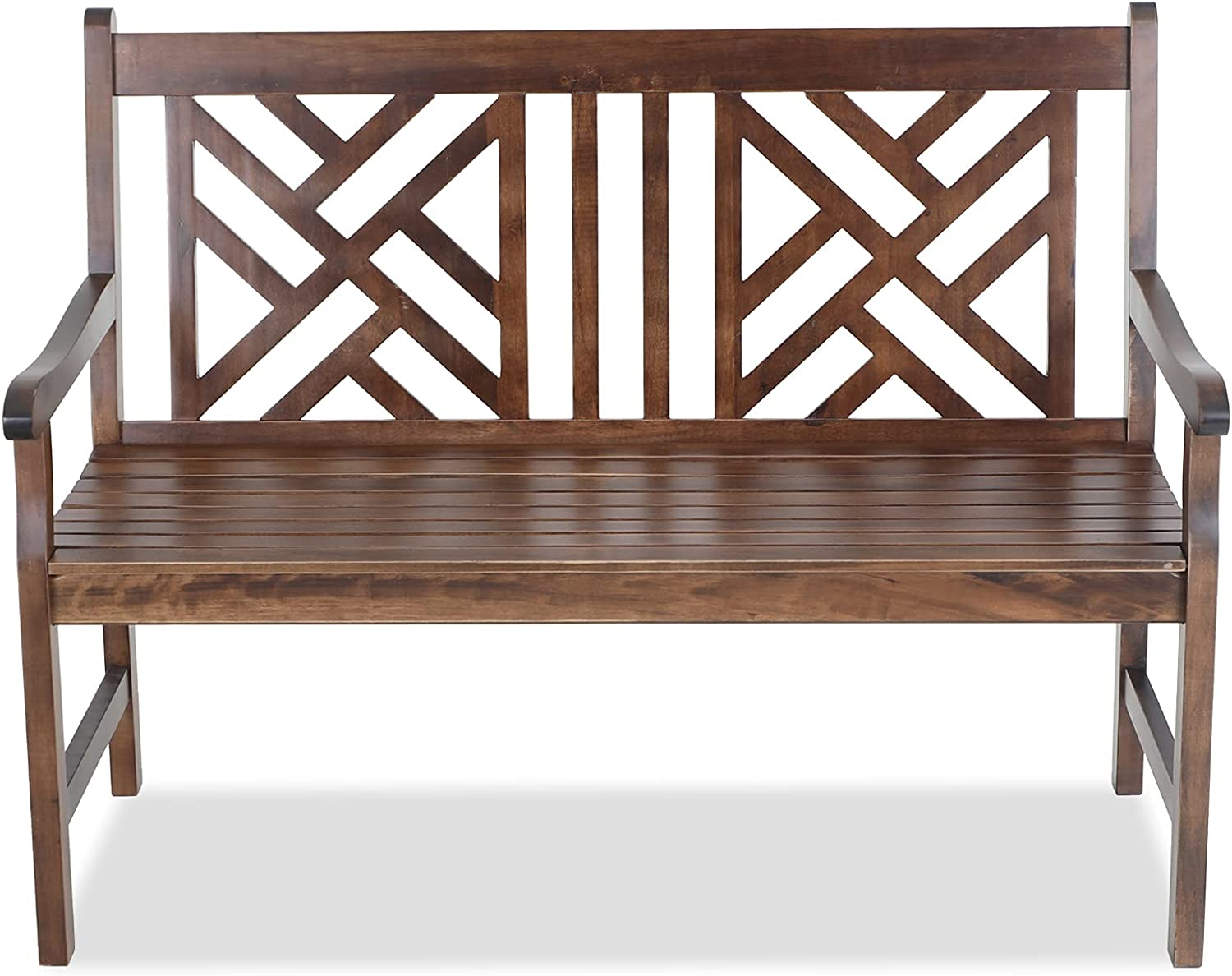 MFSTUDIO Outdoor Acacia Wood Garden Bench with Backrest and Armrest,2-Person Slatted Seat Bench Patio Furniture for Porch,Park,Yard,Weight Capacity 600 lbs(Brown)
