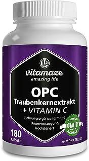 OPC Traubenkernextrakt Kapseln, zertifiziert, hochdosiert: 450 mg reines OPC, 180 Kapseln für 6 Monate, Natürliche Nahrungsergänzung ohne Zusätze