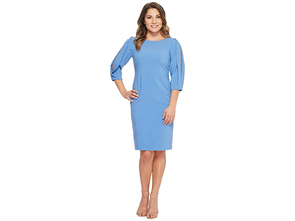 Tahari by ASL Petite Slit Sleeve Sheath Dress (Periwinkle) Women