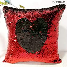 DUOBAO Sequin Pllow Covers That Change Color Red to Black 18x18-Inch Reversible Sequin Pillow Case Holographic Decor Mermaid Pillow Cover for Boys