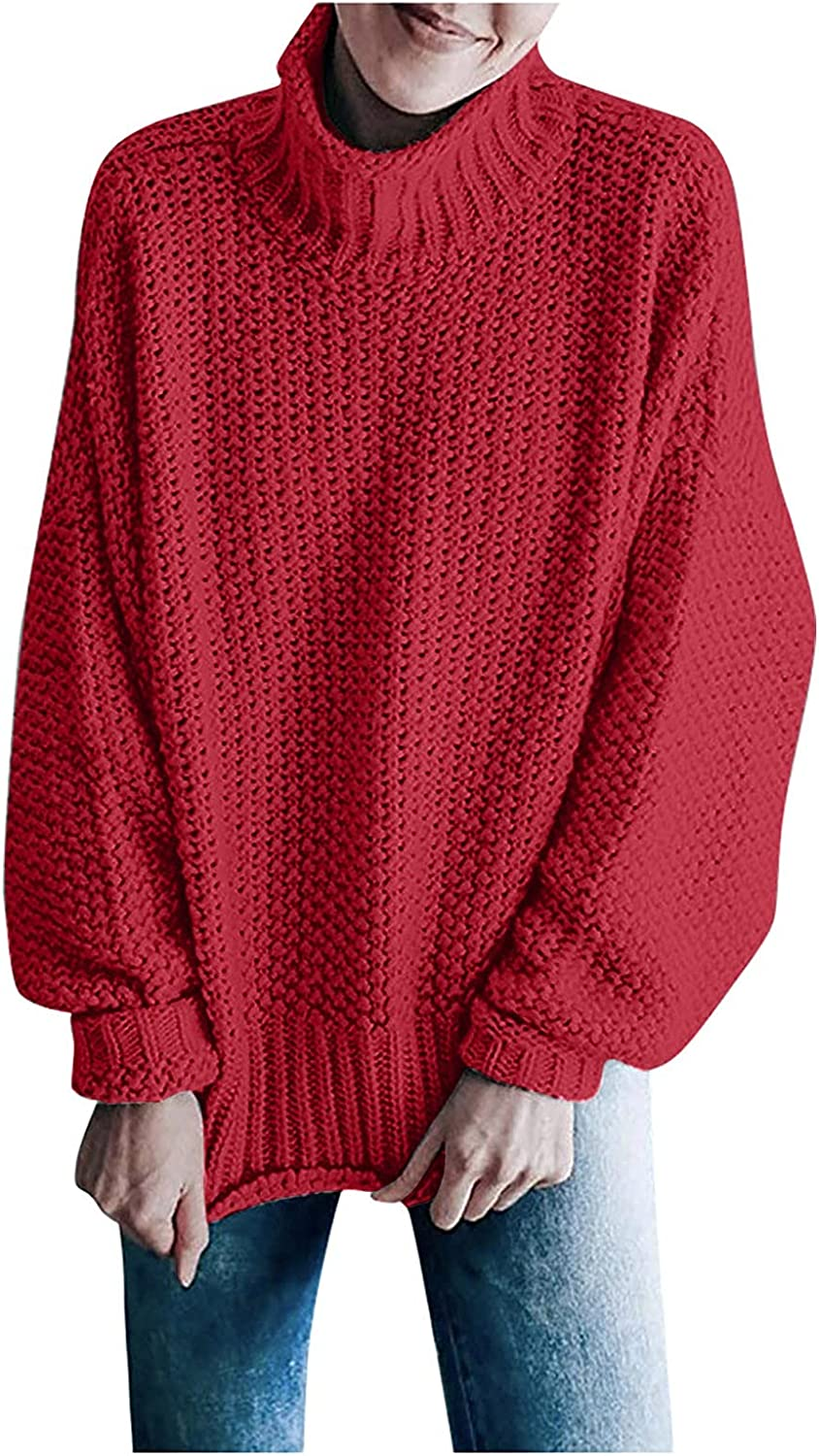 Women'S Pullover Knitted Sweater Solid Color Mesh Pattern Turtleneck Loose Large Size Wool Sweater