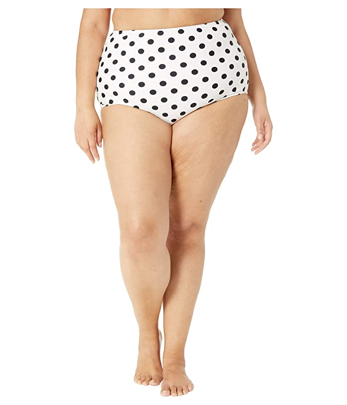 Unique Vintage Plus Size High-Waist Louise Swim Bottoms (White/Black Polka Dot) Women