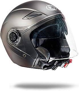 L circonferenza tempie one by Camamoto cod 77446038 casco alfa jet//demi jet doppia visiera omologato moto//scooter di colore blu opaco taglia 59-60 cm misura //