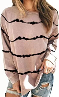 Women's Casual Stripes Long Sleeve Round Neck Loose Tunic T Shirt Blouse Tops Autumn Clothes Shirts Tee (Color : Khaki, Si...