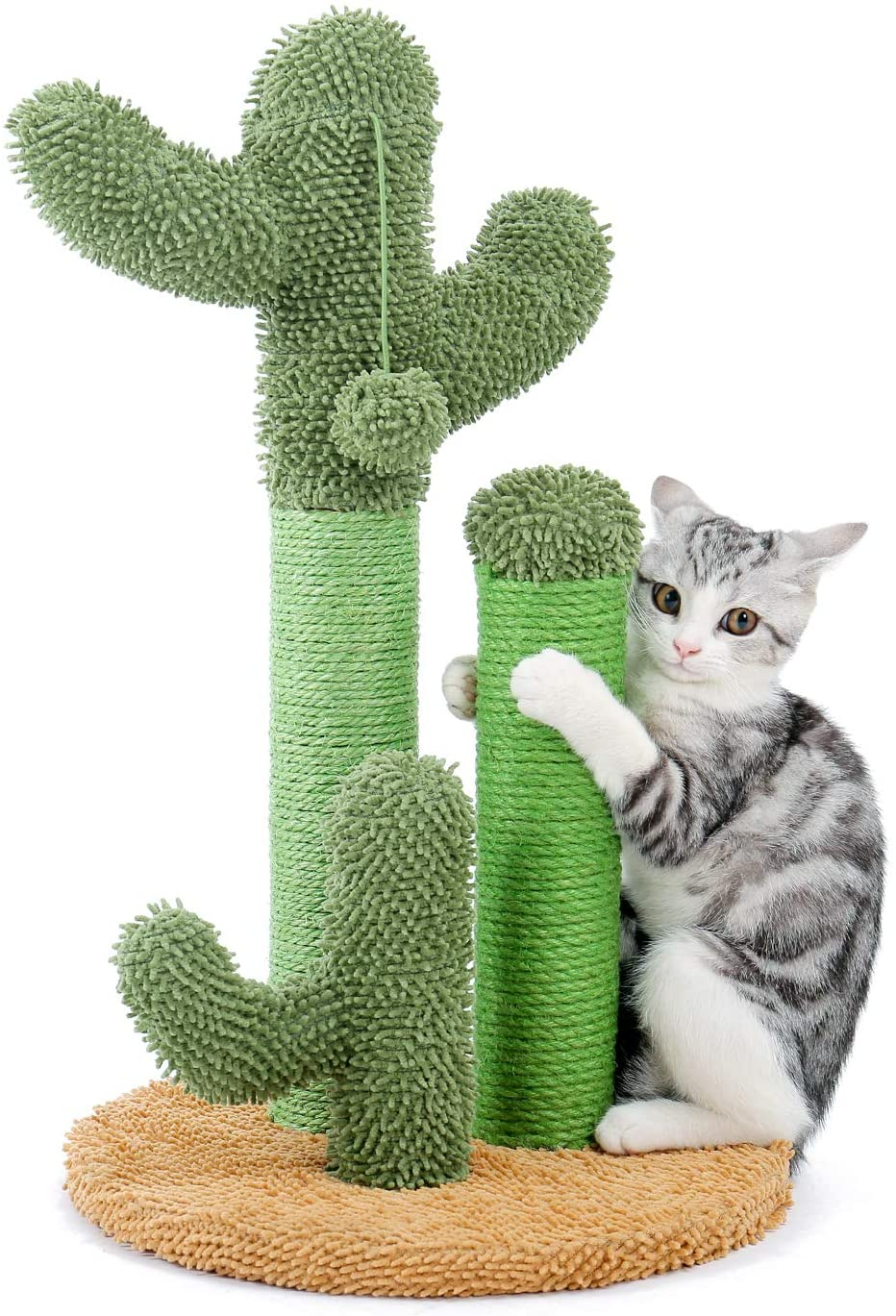 PAWZ Road Cat Scratching Post Cactus Cat Scratcher Featuring with 3 Scratching Poles and Interactive Dangling Ball