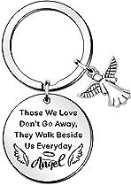 QMVMV Memorial keyring Sympathy Angel Wings gifts Loss Of Loved One keyhcian