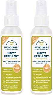Wondercide Natural Deet-Free Mosquito and Insect Repellent Spray for Kids, Babies, Family — Bug Repellent and Killer — Lemongrass 2-Pack