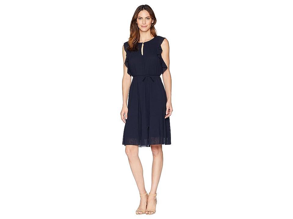Ellen Tracy Flouncy Sleeve Dress (Ink) Women
