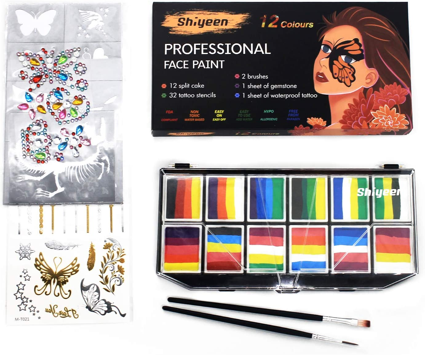 Los Angeles Mall Shiyeen Professional Face Paint 12 Spli Kit Bright Animer and price revision