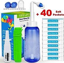 TONELIFE Sinus Rinse Kit 300ml+40Packets Nasal Salt+Moisturizing Nasal Sprayer-Nasal Wash Saline Packet Refills-Nose Clean...