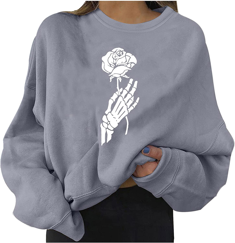 Funny Skeleton Shirt Women Long Sleeve Crop Tops Round Neck Pullover Oversized Graphic Sweatshirt