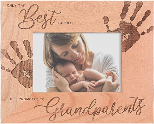 Grandparents Wooden Picture Frame - Only The Best Parents Get Promoted to Grandparents (Holds 5 x 7 Inch Photo) (9 x 11 Inch Overall Size)