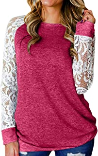 Women Lace Sleeve Splicing O-Neck T-Shirt Long Sleeve Cotton Pullover Tops