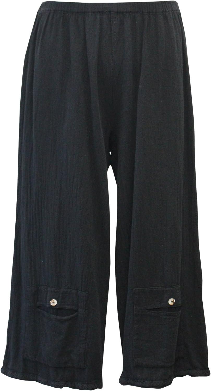Max 52% OFF Tamar Fashions Women's Kate New mail order Black Crop Cotton Pant Gauze