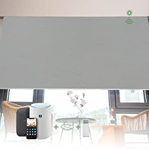 Kerxwerd Motorized Roller Blinds for Windows, Blackout Blinds and Shades with Remote Control for Home, Office, Environmentally Friendly, Odorless, Grey