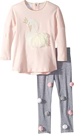 Swan Long Sleeve Tunic & Legging Two-Piece Set (Infant/Toddler)