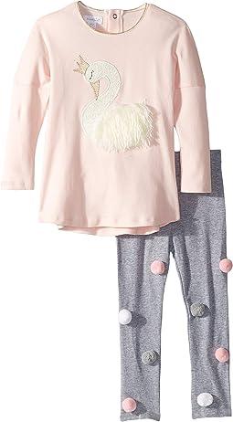 Swan Long Sleeve Tunic & Legging Two-Piece Set (Infant/Toddler)