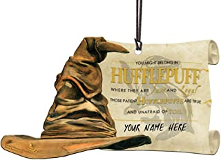 Trend Setters Harry Potter Sorting Hat - Hufflepuff Personalized - Shaped Acrylic Hanging Print Decor with Hogwarts House Quote Poem