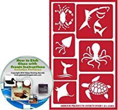 Glass Etching Secrets Sea Life Animal Reusable Stencils: Crab, Shark, Squid, Octopus, Whale Tail, Searay, Sea Turtle Nautical & Beach Adhesive Stencils + How to Etch CD