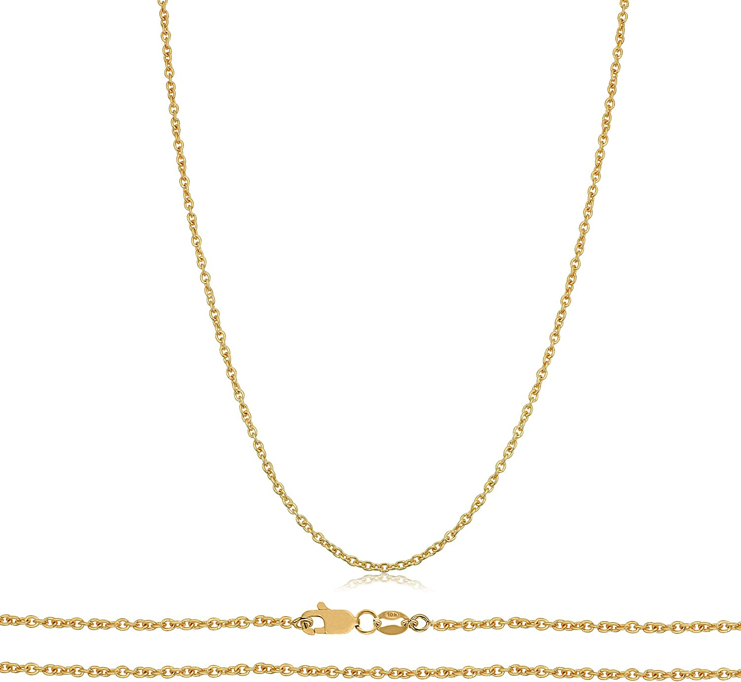 Orostar 10k Gold 1MM Round Cable Chain for Men & Women   Strong Round Cable Chain Necklace in Yellow Gold   Size 16-22 inches