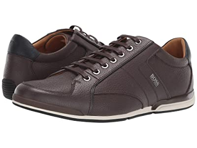 BOSS Hugo Boss Saturn Low Profile Leather Sneaker by BOSS (Dark Brown) Men