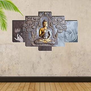 Craft Junction Lord Buddha Art Print Design Set of 5 6 MM MDF Self Adhesive Panel Digital Reprint 17 inch x 30 inch Painti...