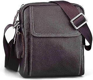 Crossbody Bag Genuine Leather Men's Shoulder Bag Casual Small Square Bag Cowhide Satchel 2L Outdoor Work Bag Men's Bag Leather Bag
