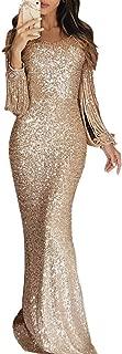 Women Elegant Sequin Glitter Tassel Long Sleeve Bodycon Evening Party Prom Gown Maxi Dress
