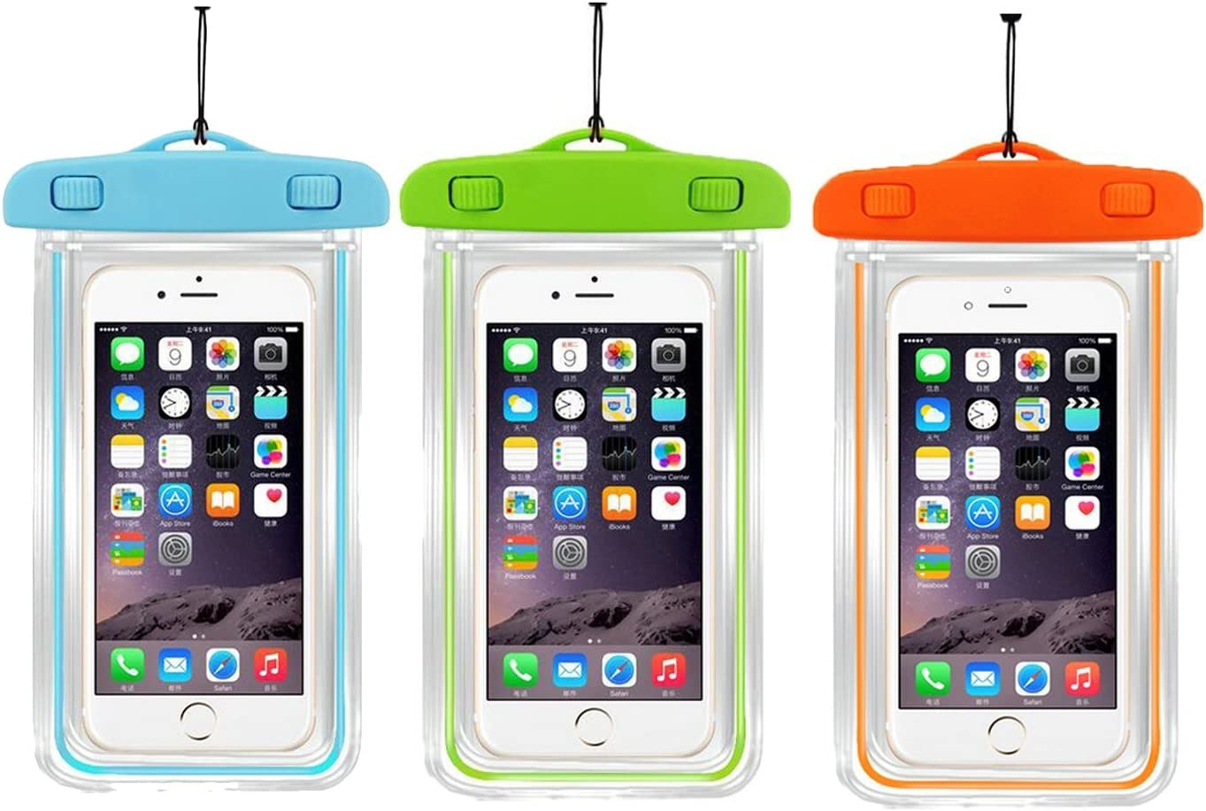 [3Ppack] Waterproof Case Universal Cellphone Dry Bag Pouch CaseHQ for Apple iPhone 8,8plus,7,7plus 6S, 6, 6S Plus, SE, 5S, Samsung Galaxy s8,s8 Plus S7, S6 Note5, HTC LG Motorola up to 5.8