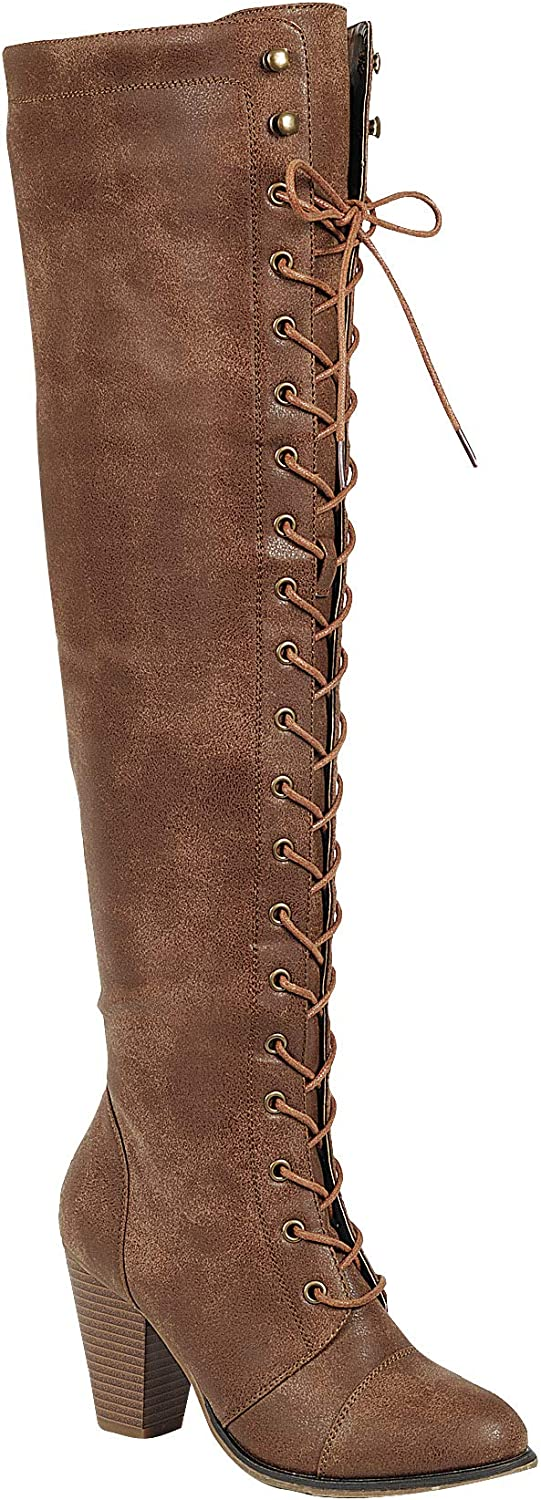 Forever Womens Chunky Heel Lace up Over The Knee High Riding Boots