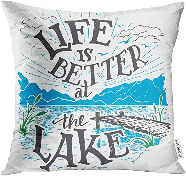 UPOOS Throw Pillow Cover Life Is Better At The Lake House Sign In Vintage For Rustic Wall Lakeside Living Cabin Cottage Hand Decorative Pillow Case Home Decor Square 16x16 Inches Pillowcase