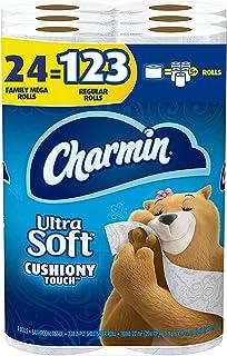 Charim فوق العاده Soft Cushiony Touch Toilet Paper، 24 خانواده مگا رولز (برابر با 123 رول معمولی)